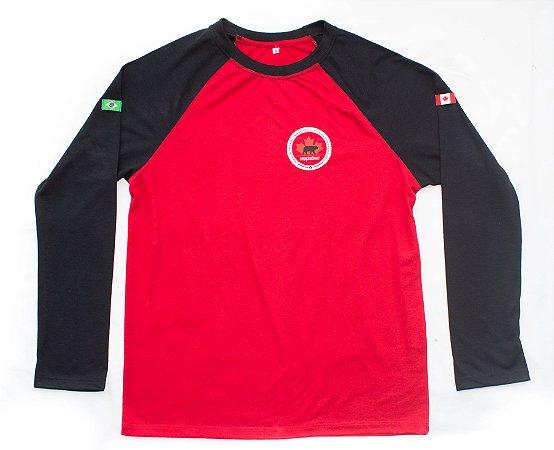 Maple Bear Fundamental - Camiseta Manga Longa - Vermelha - Masculina - Ref.146 - Confecção conforme pedidos