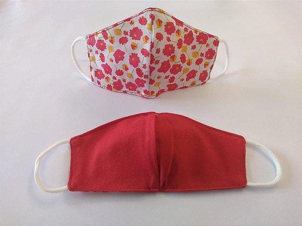 Mascara de Tecido Dupla Face Infantil -Tamanho P - Estampa de Flores