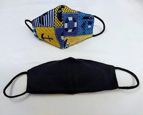 Mascara de Tecido Dupla Face Infantil Masculina - Tamanho P - Estampa Náutico - Ref.163