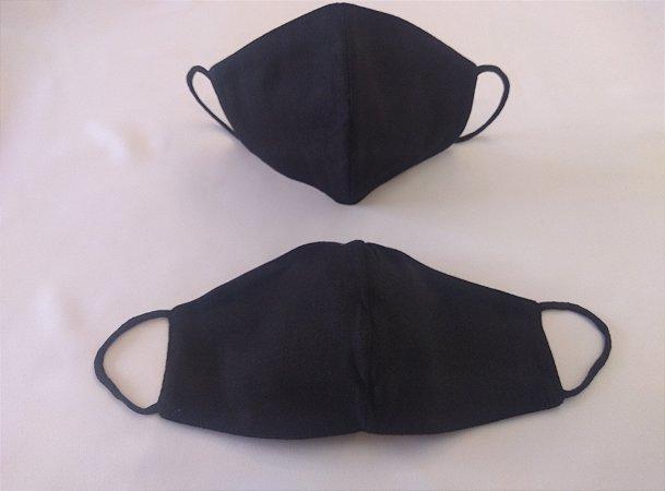 Mascara de Tecido Dupla Face Unissex - Preta - Ref. 163