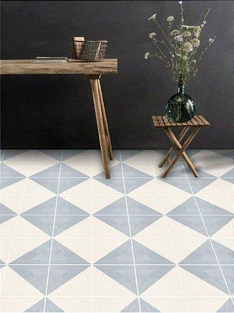 Adesivo para piso losango azul claro lavável antiderrapante