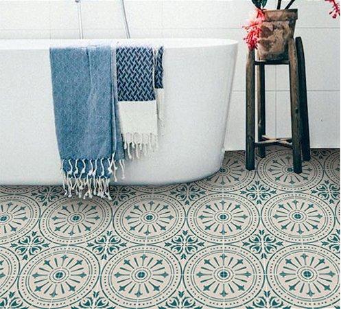 Adesivo para piso ladrilho portugues verde e bege