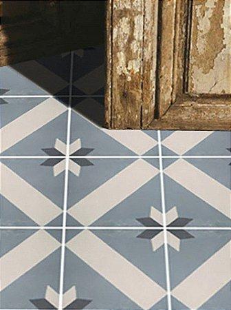Adesivo para piso ladrilho azul