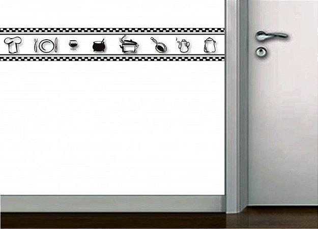 Faixa de parede cozinha preto e branco