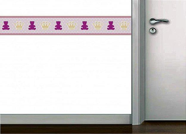 Faixa de parede urso e coroa rosa