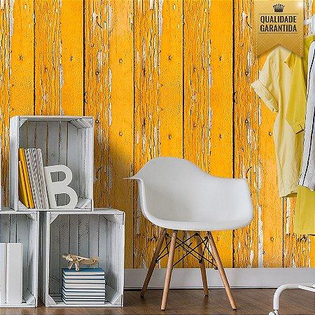 Papel de parede madeira de demolição amarela