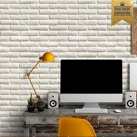 Papel de parede tijolinho branco 3d