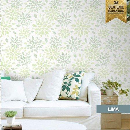 Papel de parede floral verde lima