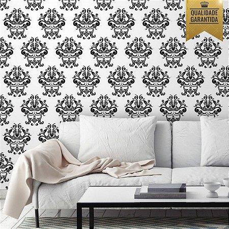 Papel de parede arabesco preto e branco
