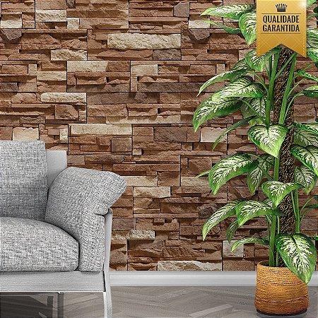 Papel de parede pedra filetada marrom