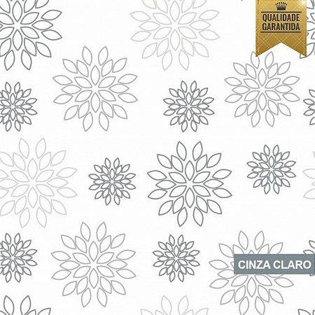 Papel de parede floral cinza claro