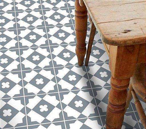 Adesivo para piso ladrilho geometrico cinza e branco