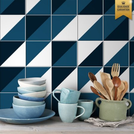 Adesivo de Azulejo Geométrico azul