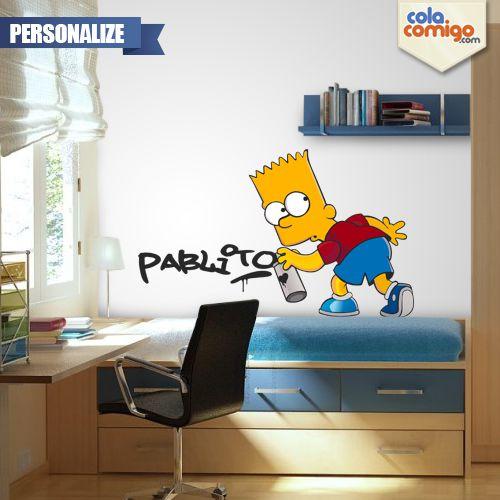 Adesivo de Parede Bart Graffiti Personalize