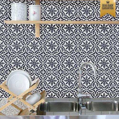 Adesivo de Azulejo preto e branco português