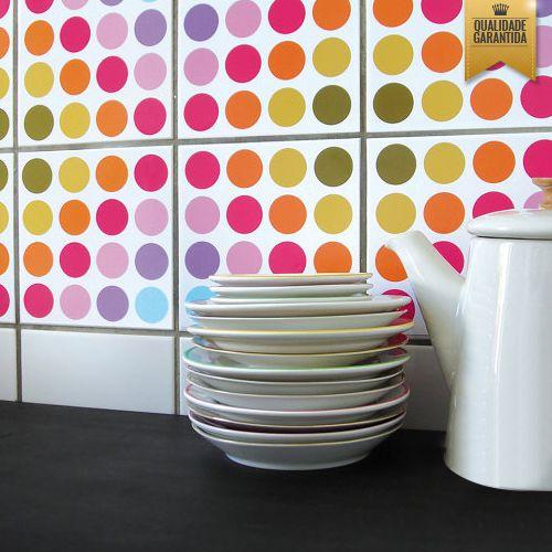 Adesivo de azulejo bolinhas coloridas