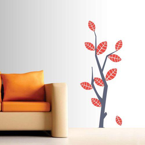 Adesivo de Parede Árvore com Flores Vermelhas