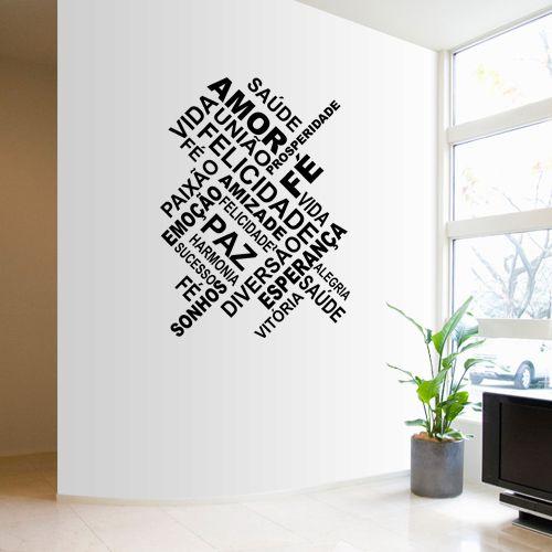 Adesivo de parede palavras positivas