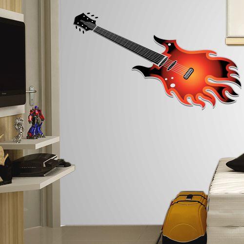 Adesivo de Parede Guitarra de Fogo