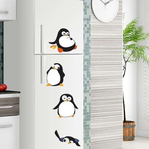 Adesivo de Geladeira Pinguins