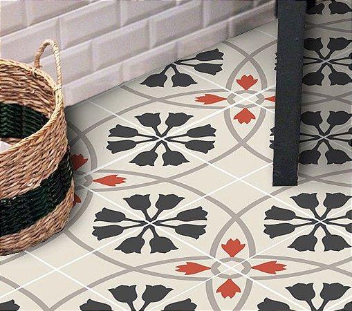 Adesivo para piso floral indiano impermeável antiderrapante