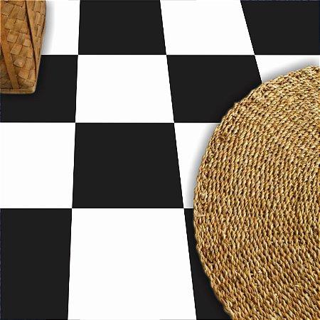 Adesivo  piso  xadrez  preto e branco lavável