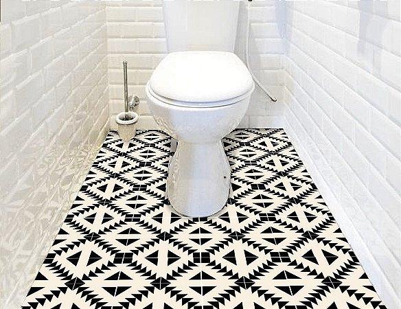 Adesivo de piso apache preto e branco lavável