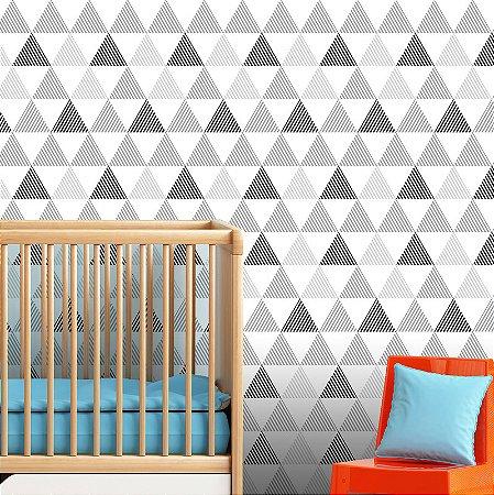 Papel Parede Infantil Unissex P&B Triângulos Autocolante 3Mt