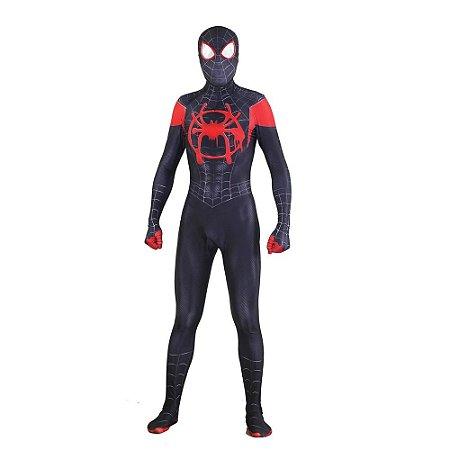 COSPLAY SPIDERMAN HOMEM ARANHA SPIDER MAN INTO SPIDERVERSE (2018) MILLES MORALES ADULTO + FACESHELL