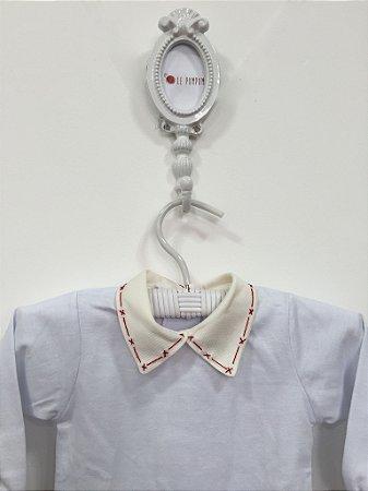 Body de gola off-white bordada Xis tracinho vermelho - Tamanho RN