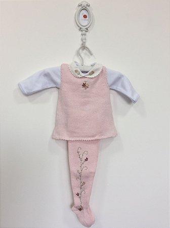 Conjunto maternidade Papoula rosa com body  - Tamanho RN
