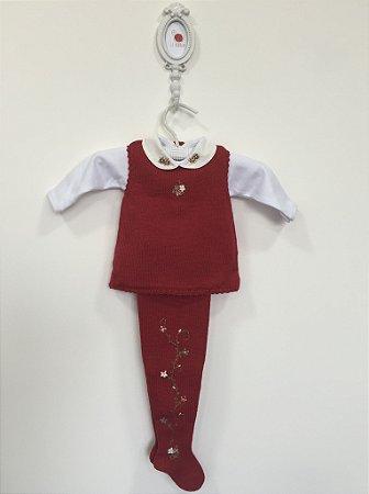 Conjunto maternidade Papoula vermelho com body  - Tamanho RN