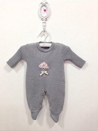 Macacão maternidade bouquet cinza