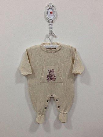 Macacão maternidade Ursinha bolso canguru - Tamanho RN