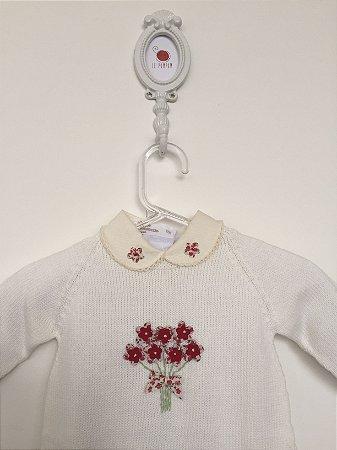 Macacão maternidade Bouquet off-white com body - Tamanho RN