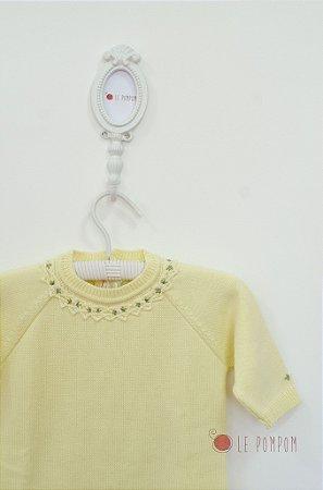Macacão maternidade Havana amarelo com gola bordada - Tamanho RN