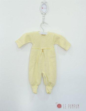Macacão maternidade Violeta amarelo chavinha - Tamanho RN