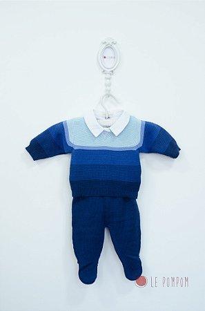 Conjunto maternidade blusa, calça  e body com gola bordada - Tamanho RN