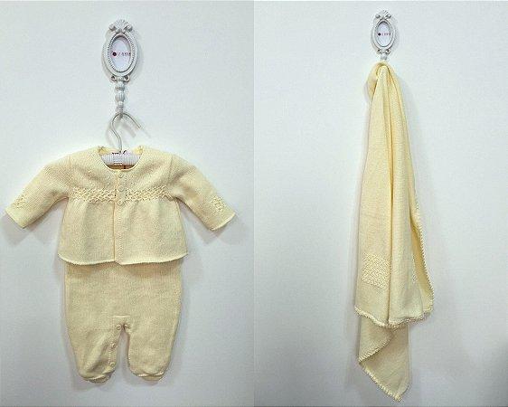 Saída de maternidade Pitanga bordada de pérolas amarela com body - Tamanho RN