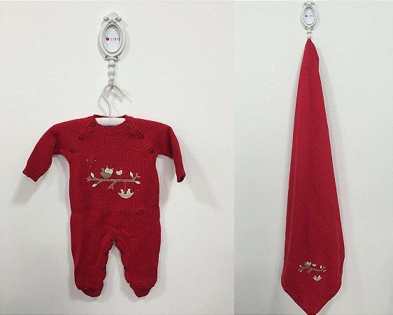 Saída de maternidade Coruja vermelha com aplicação - Tamanho RN