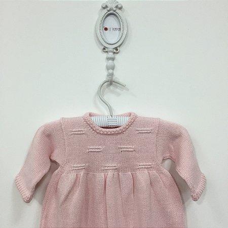 Macacão Andorinha Pérolas rosa - Tamanho RN