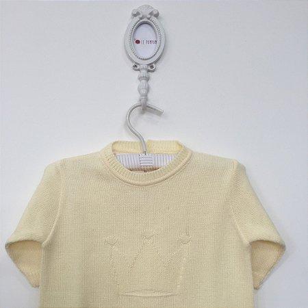 Macacão maternidade coroa relevo amarelo - Tamanho RN