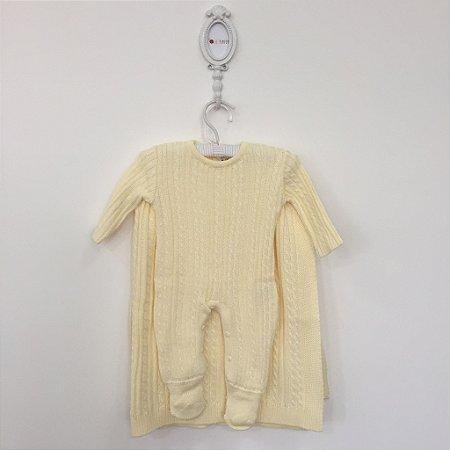 Saída maternidade Trancinha amarela - Tamanho RN