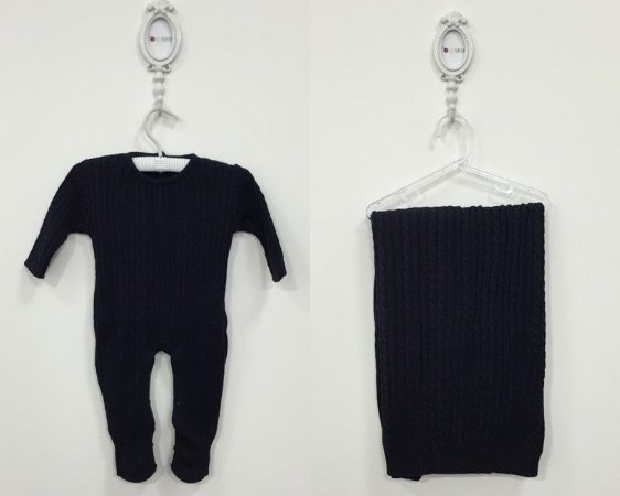 Saída maternidade Trancinha azul-marinho - Tamanho RN