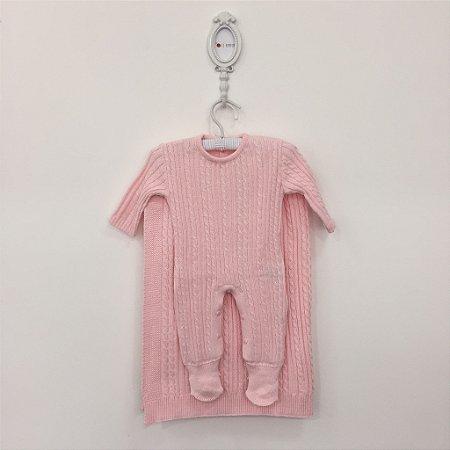 Saída maternidade Trancinha rosa - Tamanho RN