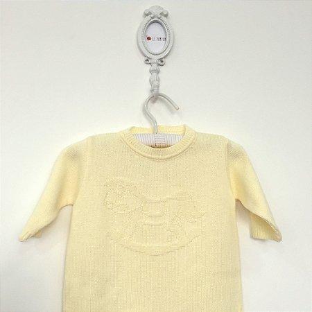 Macacão maternidade relevo Cavalinho amarelo - Tamanho RN