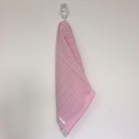Manta maternidade trançada de tricot  - rosa