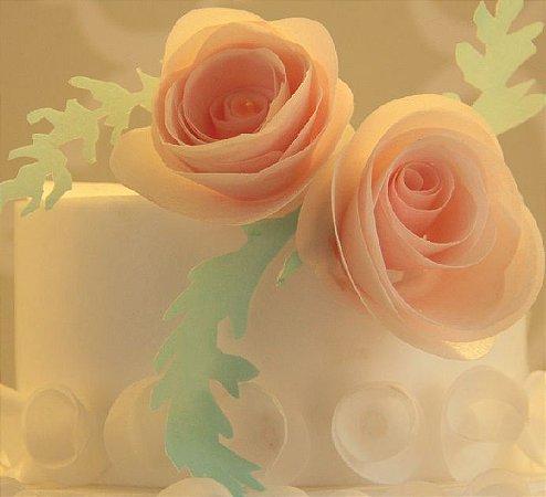 Arquivo digital para recorte de ROSA ESPIRAL para topo de bolo