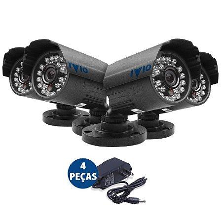 Kit 4 Câmeras De Segurança Infra Ivio 15 Metros Ccd Sony Com Fonte