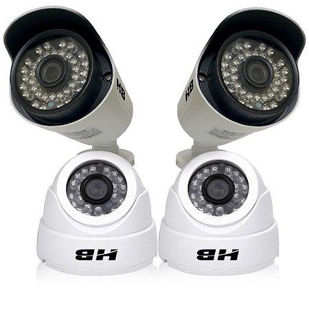 Kit Câmeras Hdcvi 2 Câmeras Dome e 2 Câmeras Bullet Externas 1.3 Megapixel